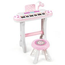 37-Key Kids Piano Play Fun Keyboard Organ Light w/ Stool & Microphone Pink