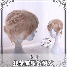 Japanese Harajuku Vintage Gothic Lolita Short Unisex Cosplay Daily Flaxen Wig