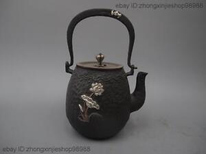 Archaic Japan Iron Silver Blessing lotus flower Flagon Kettle Wine Tea Pot