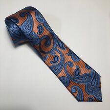 ERMENEGILDO ZEGNA Mens Neck Tie Silk Made in Italy Paisley Color Orange Blue