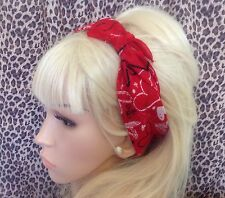 Rouge Graffiti cœur en coton imprimé bandana tête cheveux Foulard Rockabilly PIN UP