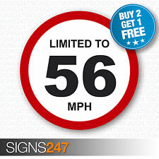 LIMITED TO 56 MPH Vehicle Speed Restriction Printed Vinyl Car Van Sticker 80mm