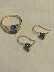 Gold Aquamarine Ring & Earrings
