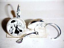 Ohrringe Mary Poppins Musik Damen Ohrschmuck Modeschmuck Glas Leverback Weiß