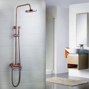 Antique Copper Rainfall Shower Head/Hand Spray Faucet Set Mixer Tap Wall Mount