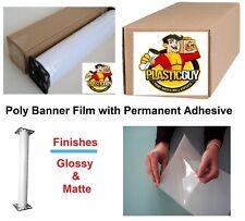 Inkjet Printable Poly-Vinyl Banner Roll Tear-Proof Self-Adhesive (Choose Size)