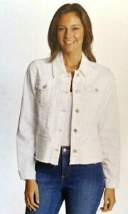 Bandolino Womens White Denim Jacket, Denim Frayed Jacket, White, XL