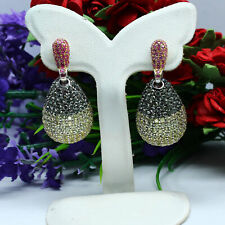 NATURAL HEATED FANCY COLOR SAPPHIRE LONG EARRINGS 925 STERLING SILVER