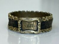 Antique 14K solid gold w/ Woven Hair Mourning ring 3.20g size Q 1/2 -  8 1/4