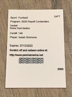 2020 Contenders Isaiah Simmons Rookie Championship Ticket Variation Auto RC #148