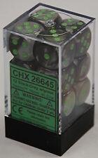 Chessex Dice d6 Sets Gemini Black & Gray W/ Green 16mm Six Sided Die CHX 26645