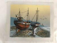 Mid Century Impressionist Oil Painting Boat Sunset Signed Original Vtg Decor