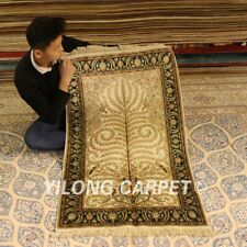 Yilong 2.5'x4' Beige Hand-knotted Area Carpet Hallway Silk Handmade Rugs 086B
