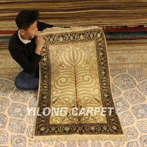 Yilong 2.5'x4' Yellow Hand-knotted Area Carpet Hallway Silk Handmade Rugs 086B