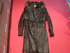 SPORTALM DARK BROWN FAUX LEATHER & FUR COAT c/w HOODED GILET EU 36 UK 8-10 £450
