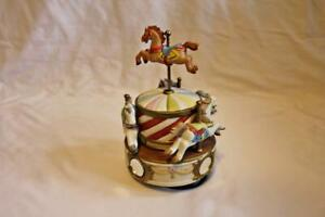 Vintage Lefton Ceramic Merry Go Round Music Box w/Horses-Music Box Not Working