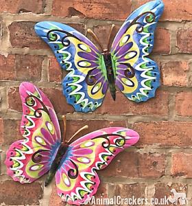 2 large 35cm metal Butterflies Pastel colour Butterfly lover wall art decoration