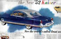 1952 2 PAGE ORIGINAL VINTAGE KAISER CAR MAGAZINE AD