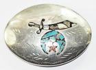 "Beautiful Silver Plate Shriner Kay Johnson Inlay Belt Buckle 3.75"""