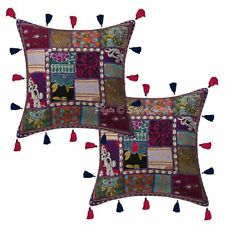 "Cotton Patchwork Kodi Tassels Pillow Cases 16"" Indian Traditional Cushion Cover"