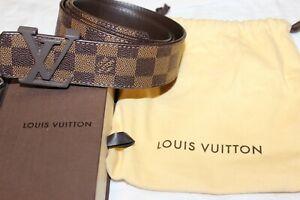 Authentic Louis Vuitton Damier Graphite Mens Belt 38/95