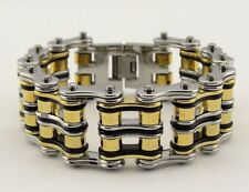 Mens Stainless Steel W Double Rollers Biker Chain Bracelet Silver-Gold-Black