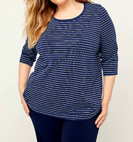 Catherine's 4X 30/32 Blue Striped Suprema Tee Top Women's Stretch Shirt Bust 66