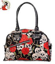Banned Alternative Skull Roses Bag gothic shoulder Black Handbag