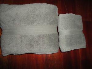 RALPH LAUREN CLASSIC GRAY (2PC) BATH & HAND TOWEL SET 100% COTTON