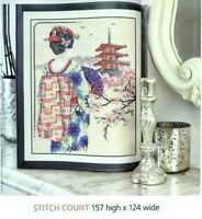 GAZING GEISHA  CROSS  STITCH   PATTERN  ONLY  EQ  RUA
