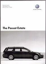Volkswagen Passat Estate Specification 2004-05 UK Market Brochure S SE Sport V6