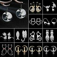 Cute Girl 925 Silver Pearl Crystal Cat Animal Ear Stud Earrings Women Jewelry
