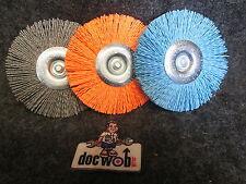 "Doc Wob Imports Fluff and Buff grey,blue+ orange 4"" polishing wheel 3 pack DW103"