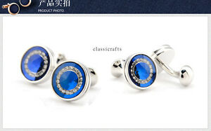 High quality silvered solid brass Crystal round shape Culflink  Blue