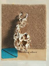 "Sterling Silver 1"" Cowboy with Hat On Bucking Horse Charm or Pendant New"