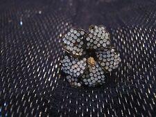 Molto scuro Tono Argento Anello Metallico Parkside Accessori Motivo Floreale Taglia M