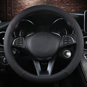Black 38cm Universal Car Steering Wheel Cover Mmicrofiber Leather Anti-Slip DIY