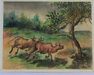Buffalo Vietnam orig  watercolor  paper  painting by Nguyen Lien & Paintings ...