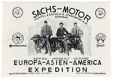 Vintage 1930's FICHTEL & SACHS GERMANY MOTORCYCLE Photo Souvenir Card EXPEDITION