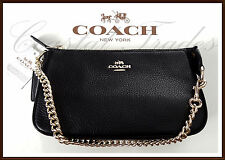 Coach Leather Large 19 Wristlet Phone Clutch Bag Purse Satchel BLACK NWT 53340