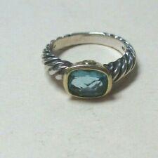 David Yurman Sterling Silver & 18K Yellow Gold Blue Topaz Ring Size 6.25