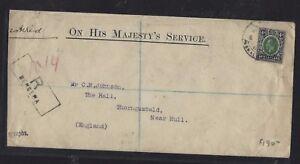 SOMALILAND COVER (P0412B) 1918 KGV 4A REG BERBERA TO ENGLAND