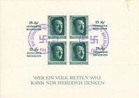 Lot Stamp Germany SC B103 Sheet 1937 3rd Reich Adolf Hitler Birthday Imperf Used