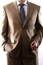 MENS SINGLE BREASTED 2 BUTTON TAN DRESS SUIT SIZE 46S, PL-60212N-204-TAN