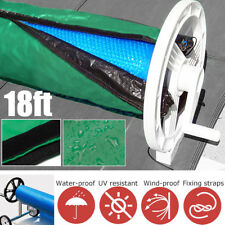18ft  Green Solar Blanket Winter Cover For Swimming Pool Solar Roller Reel !