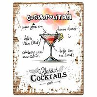 PP0688 Cocktails Cosmopolitan Chic Plate Sign Home Bar Store Cafe Decor Gift