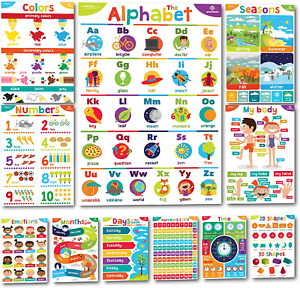 Sproutbrite Educational Posters for Toddlers - Classroom Decorations - Supplies