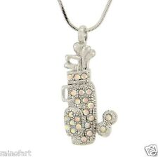 "Made With Swarovski Crystal Golf Cart Push Bag AB Pendant Necklace 18"" Chain"