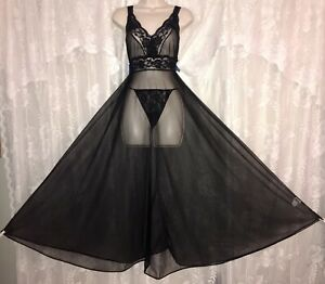 VTG Black M FULL SHEER CHIFFON Nightgown Negligee Gown Inset Lace Trim Panties