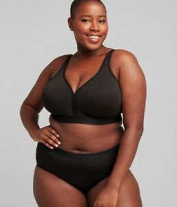 Cacique Lane Bryant Cotton Lightly Lined No Wire Full Coverage Bra Black 40H NEW